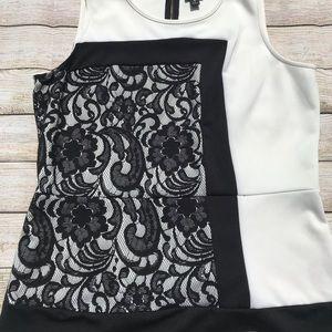 Worthington Sleeveless Black and White Top Size XL
